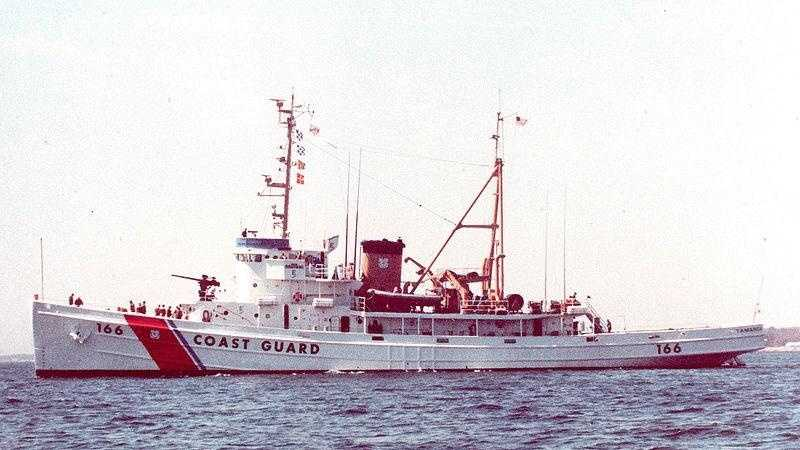 The Tamaroa, a Coast Guard cutter that rescued the crew of a downed Air National Guard helicopter
