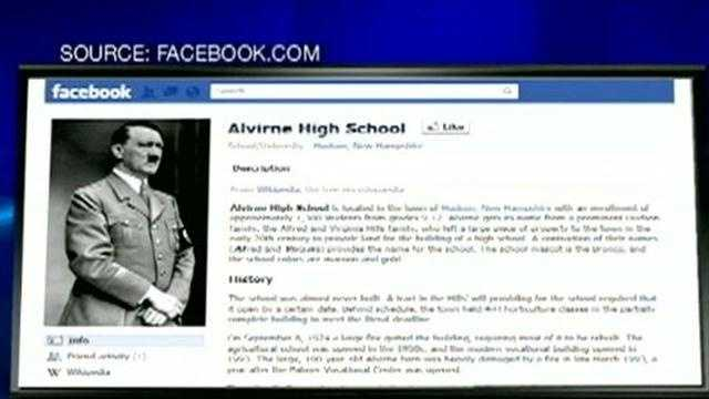 An unknown person hacked into an unofficial Facebook page for Alvirne High School and uploaded a picture of Adolf Hitler