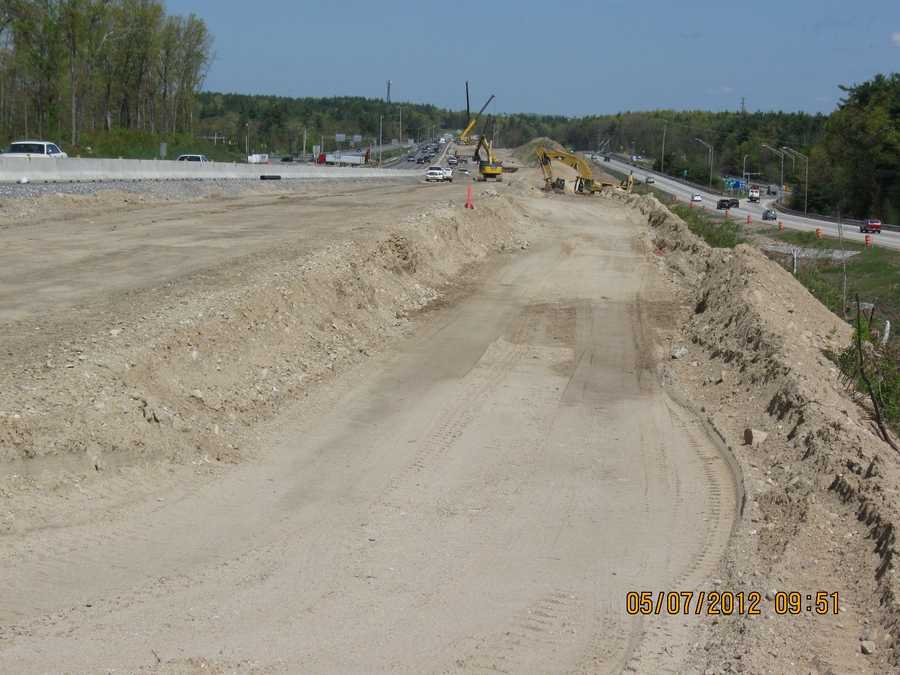 """Exit 5 Ramp Improvement On I-93: The northbound off-ramp at exit 5 is being reconstructed. Four """"Red Listed"""" bridges are also being replaced as part of this project."""