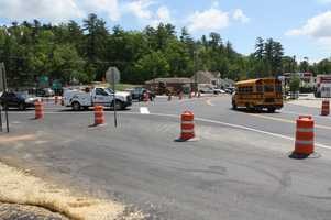"""Work being done: Initial construction work has realigned the intersection in preparation for the roundabout, which will be fully constructed after Labor Day 2012. For more information on roundabouts, go to www.nhdot.com and click on """"roundabouts"""" under the """"quick links"""" section."""