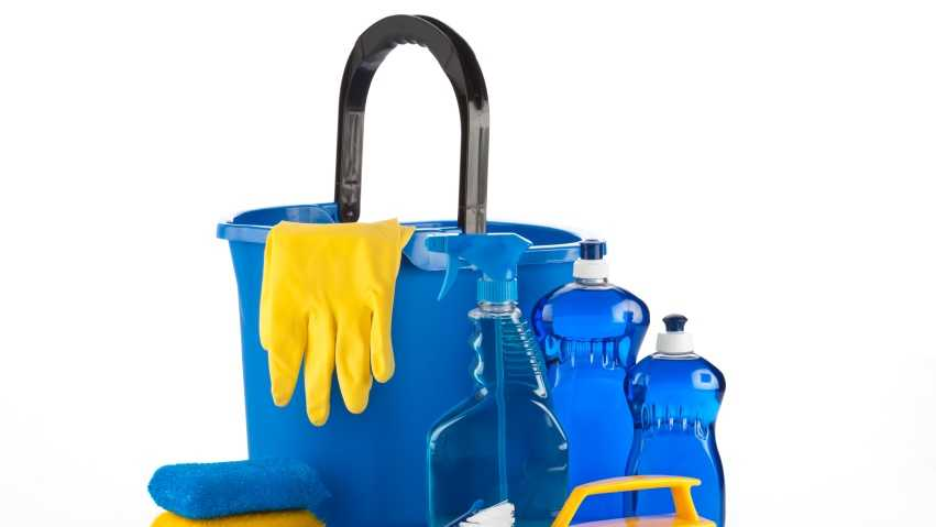 cleaning supplies, rubber gloves