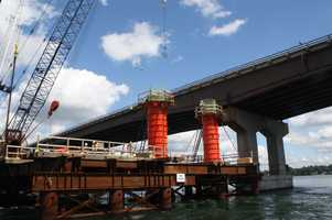 Work being done: The new bridge is being constructed between the existing Little Bay Bridge and the General Sullivan Bridge. This new bridge, coupled with the rehabilitation of the existing Little Bay Bridge (to be done in the future) will ultimately carry four lanes northbound and four lanes southbound.
