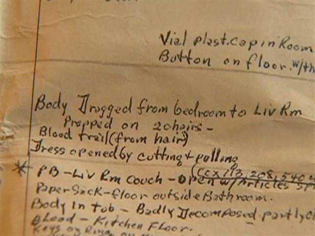 Police notes about one of the killings.