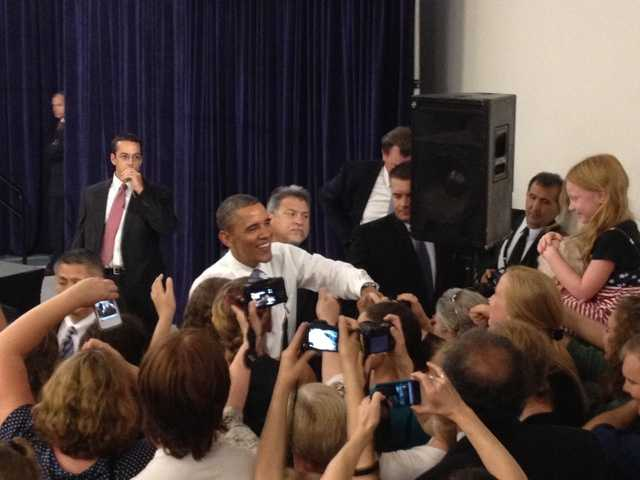 President Obama greets the crowd.
