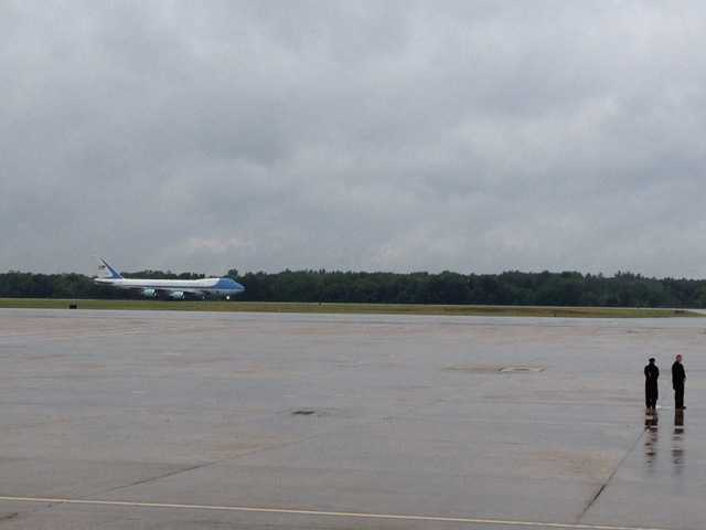 Air Force One lands.