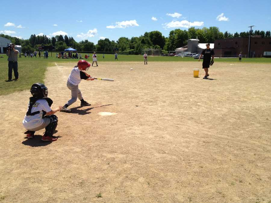 Kids at the IHB baseball camp playing the sport!