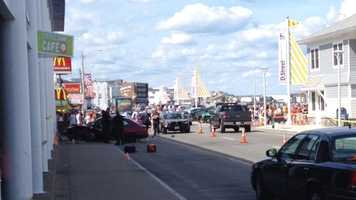 Three pedestrians were injured in an accident on Ocean Boulevard in Hampton Beach on Tuesday.