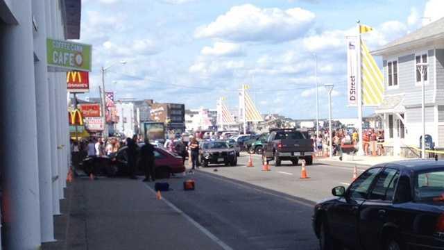 Three pedestrians were injured in an accident on Ocean Boulevard in Hampton Beach on Tuesday.