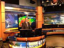10:08 pm: And we're live! Chief Meteorologist Mike Haddad gets ready for the weather.