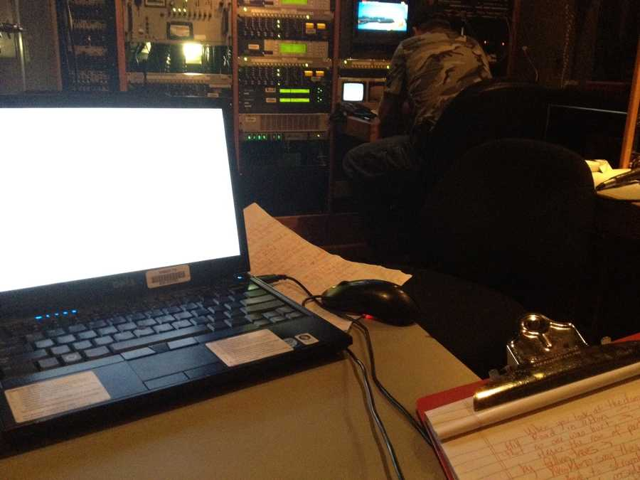 10:24 pm: Back out in the field, Jean Mackin is putting together her story for the 11 p.m. news.
