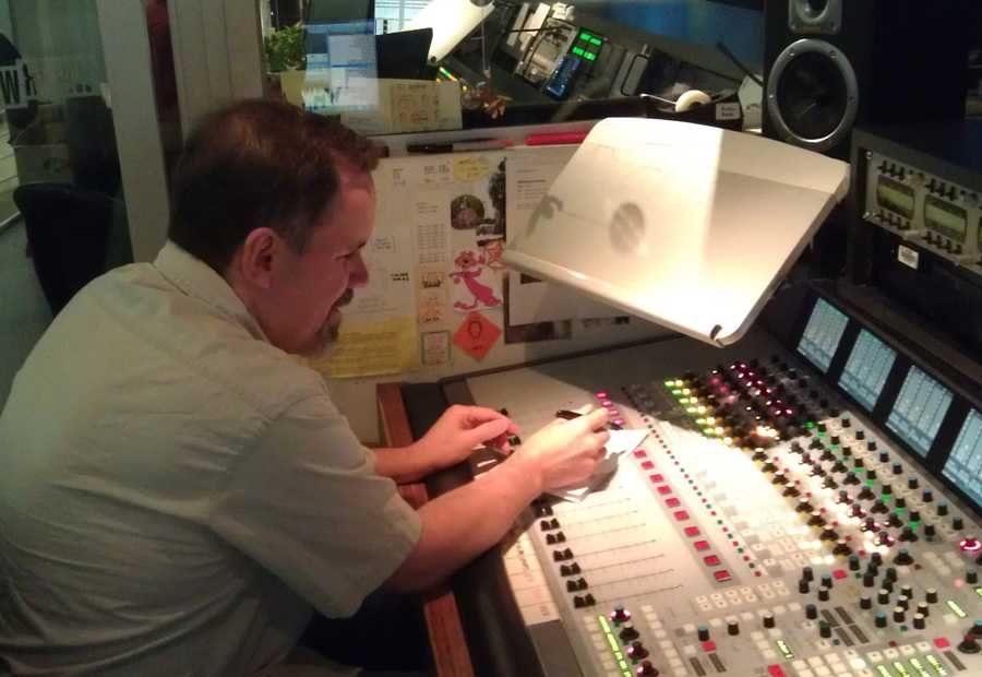 10:55 pm: Running the audio board for the news.