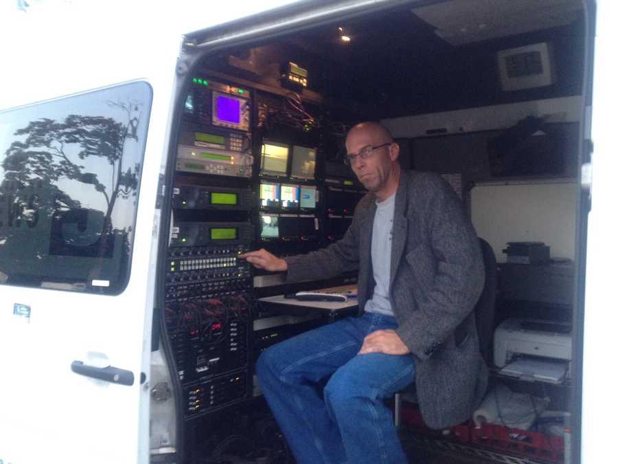 Satellite truck operator Dave Faulkner.
