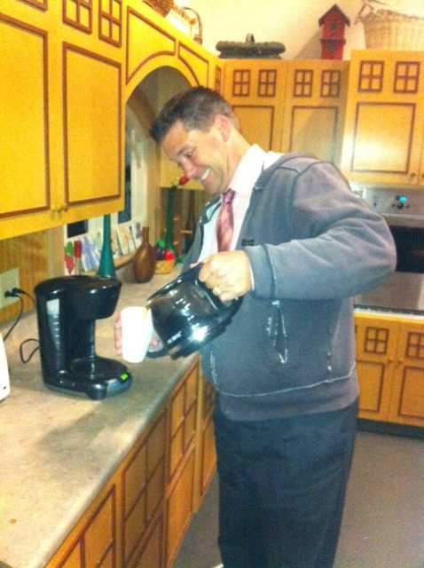 Kevin Skarupa gets the morning coffee brewing around 3:30 a.m.