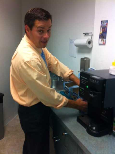 Sean McDonald gets his morning cup of Joe around 4 a.m.