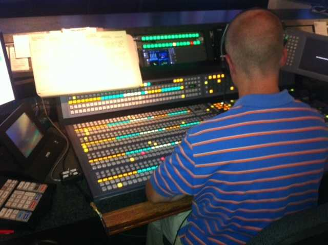 Brian Robillard directing in the control room around 5 a.m.