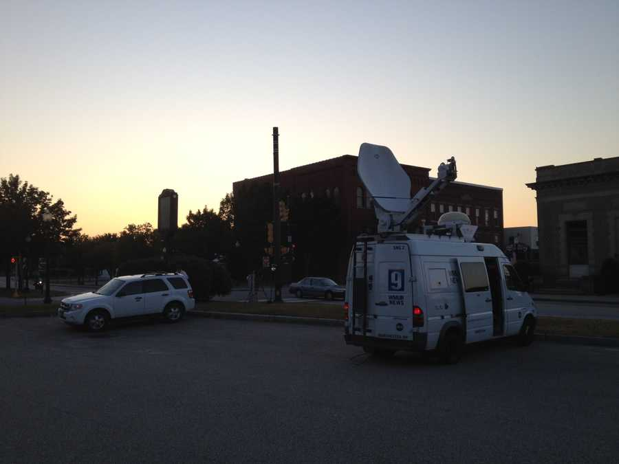 Satellite truck live at court in Rochester.