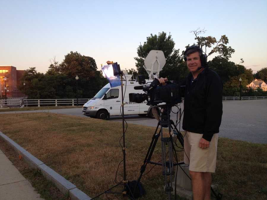 Photographer Christ McDevitt prepared and ready to shoot the live shot.