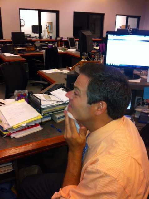 Sean McDonald wipes off his camera make-up after the show. Thanks for checking out our behind-the-scenes slideshow!