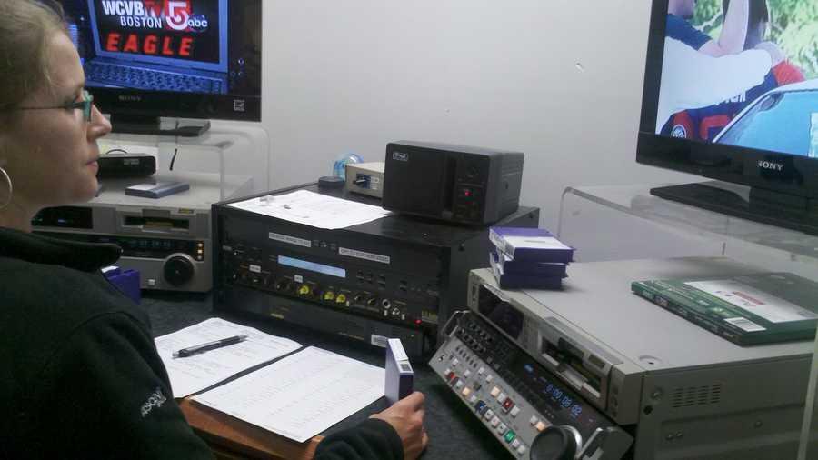 Stephanie Fournier editing tapes for Daybreak.