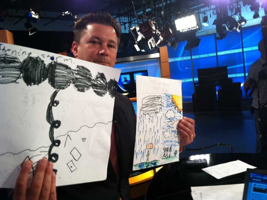 Kevin Skarupa displaying art work of the weather brought to you by local art students.