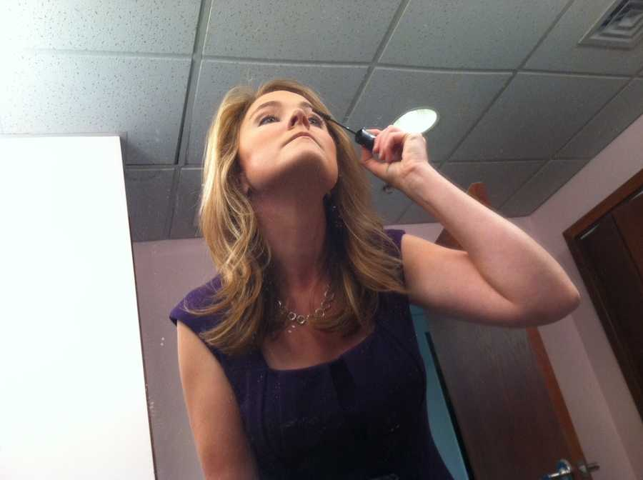 Erin Fehlau getting ready for the show - her least favorite part of the morning prep.