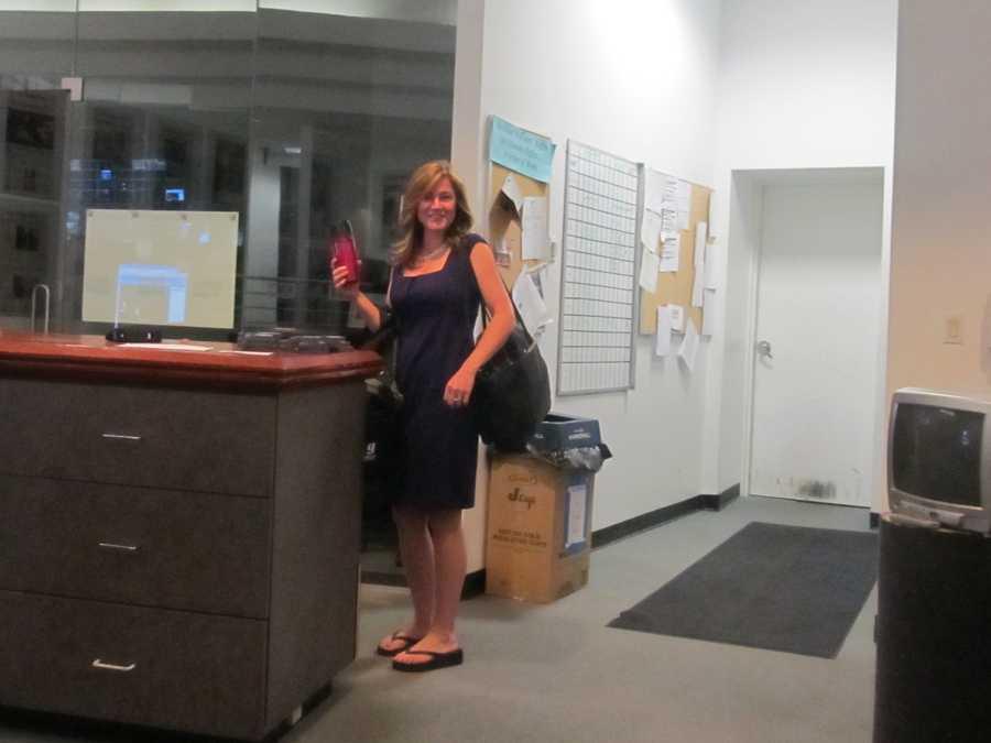 Erin Fehlau walks through the door at 4 a.m.