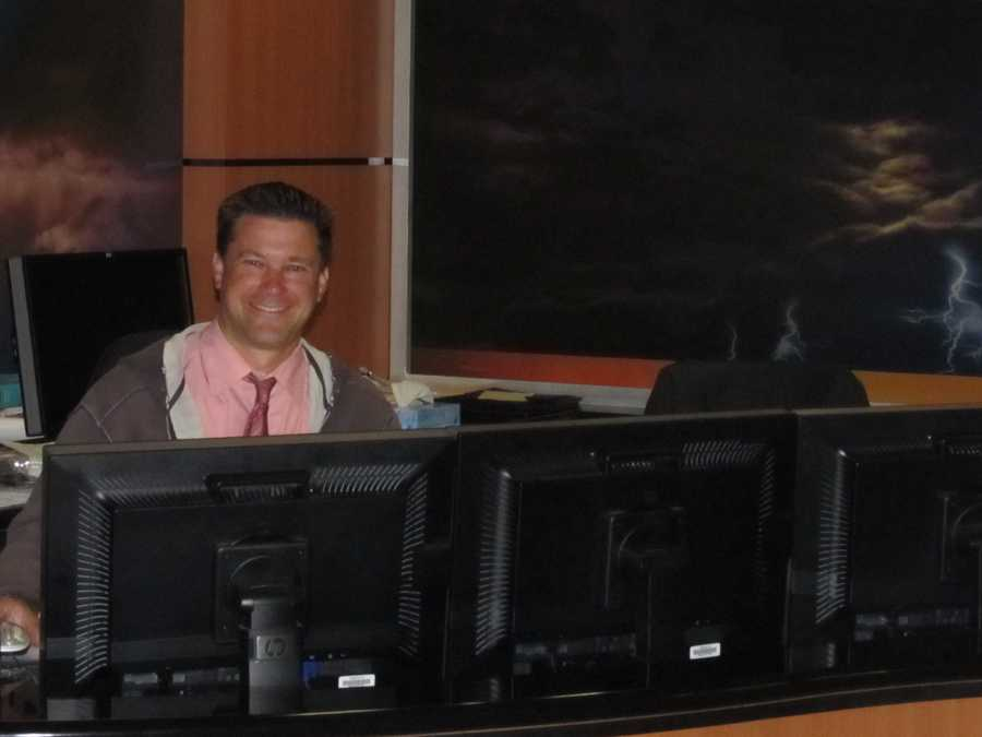 Meteorologist Kevin Skarupa arrives at 3 a.m.