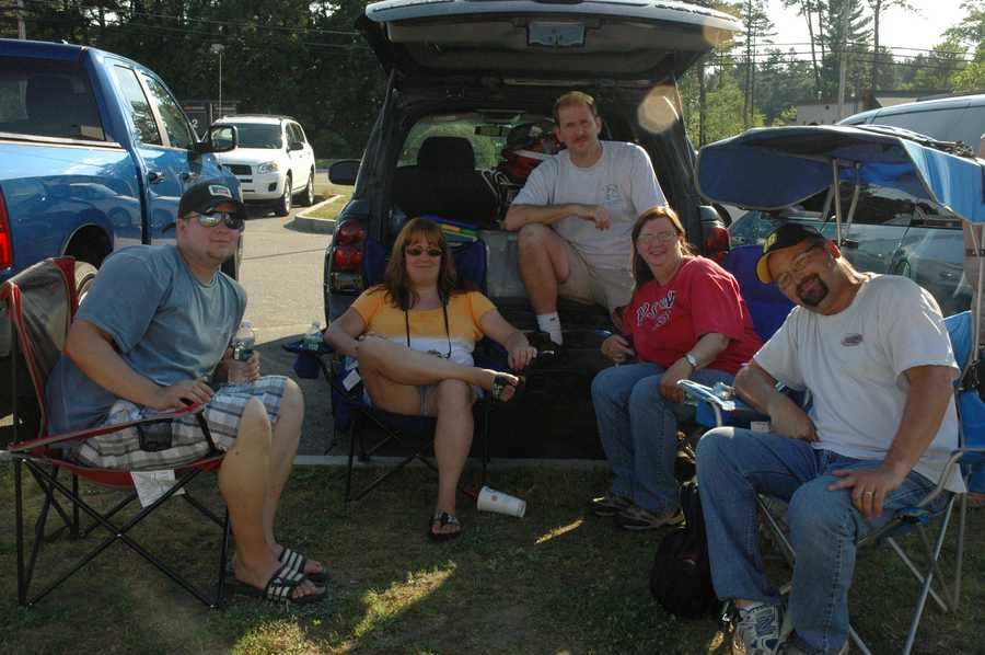 Diehard NASCAR fans waited at Concord Municipal Airport on Thursday for NASCAR drivers and crew members to arrive.
