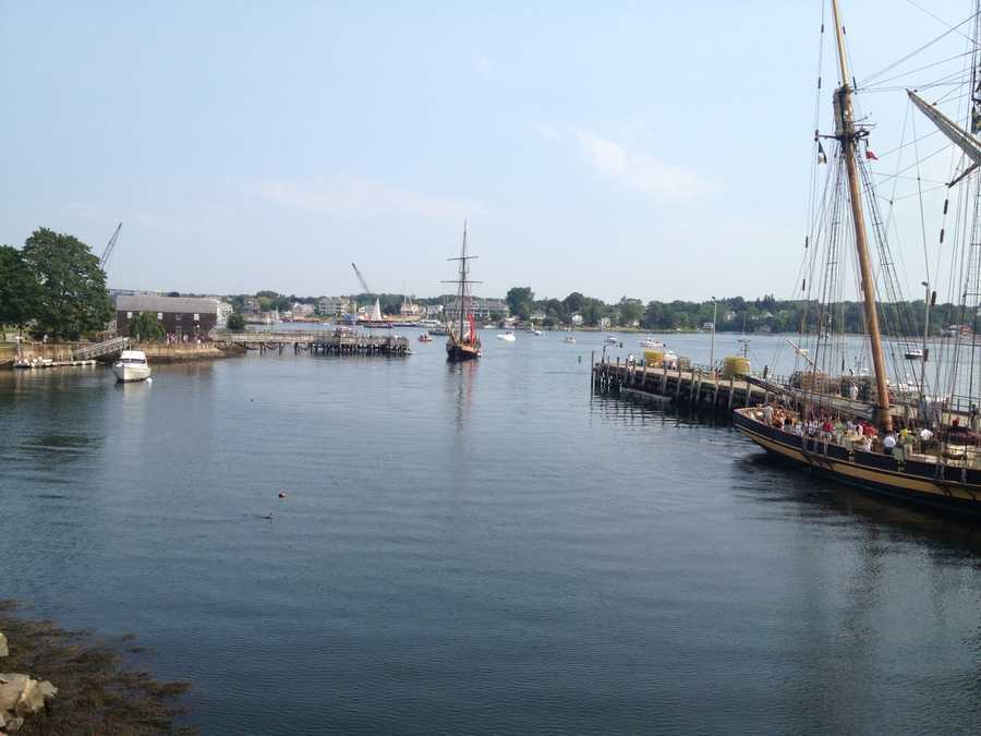 Two tall ships arrive in Portsmouth Harbor for Sail Portsmouth 2012.