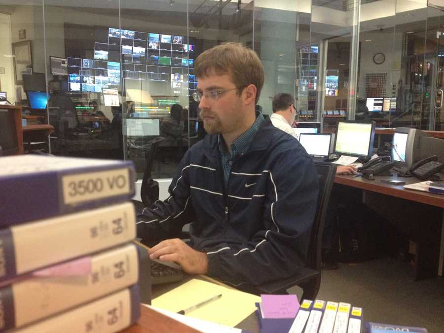 Producer Adam Bartow gets ready for the noon newscast.