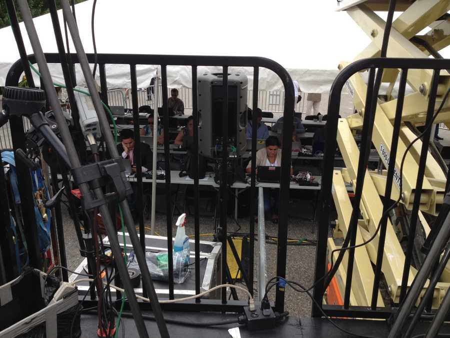 Another look at the press setup for the Romney event.
