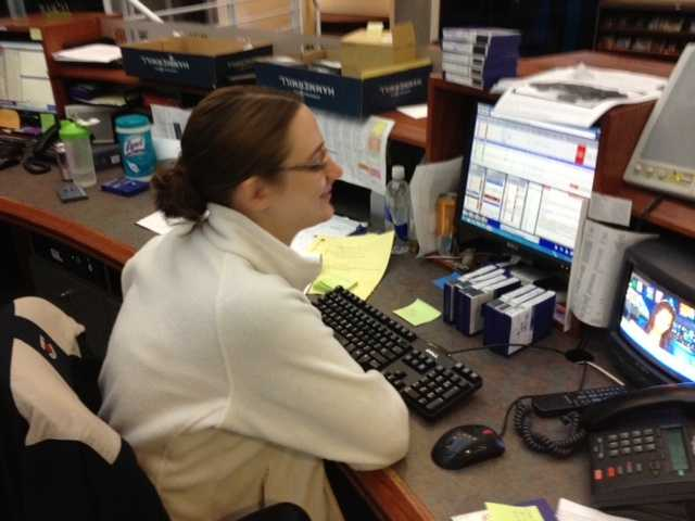 Producer Alyssa Jewell prepares for the 5 p.m. newscast.