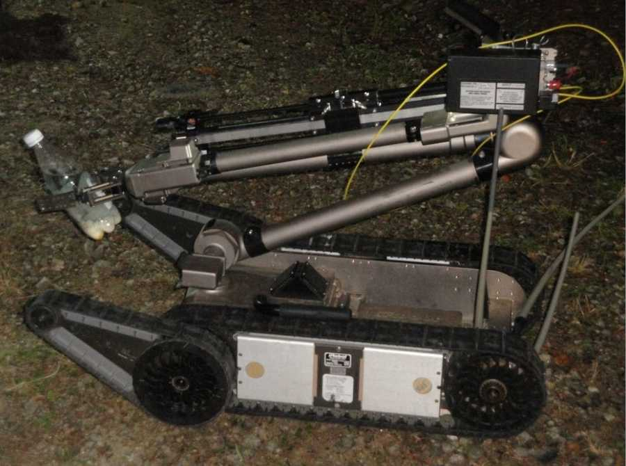 Police used aState Police Bomb Squad robot to neutralize a meth lab. The bottle being held by the robot is a one-pot meth lab, according to police.