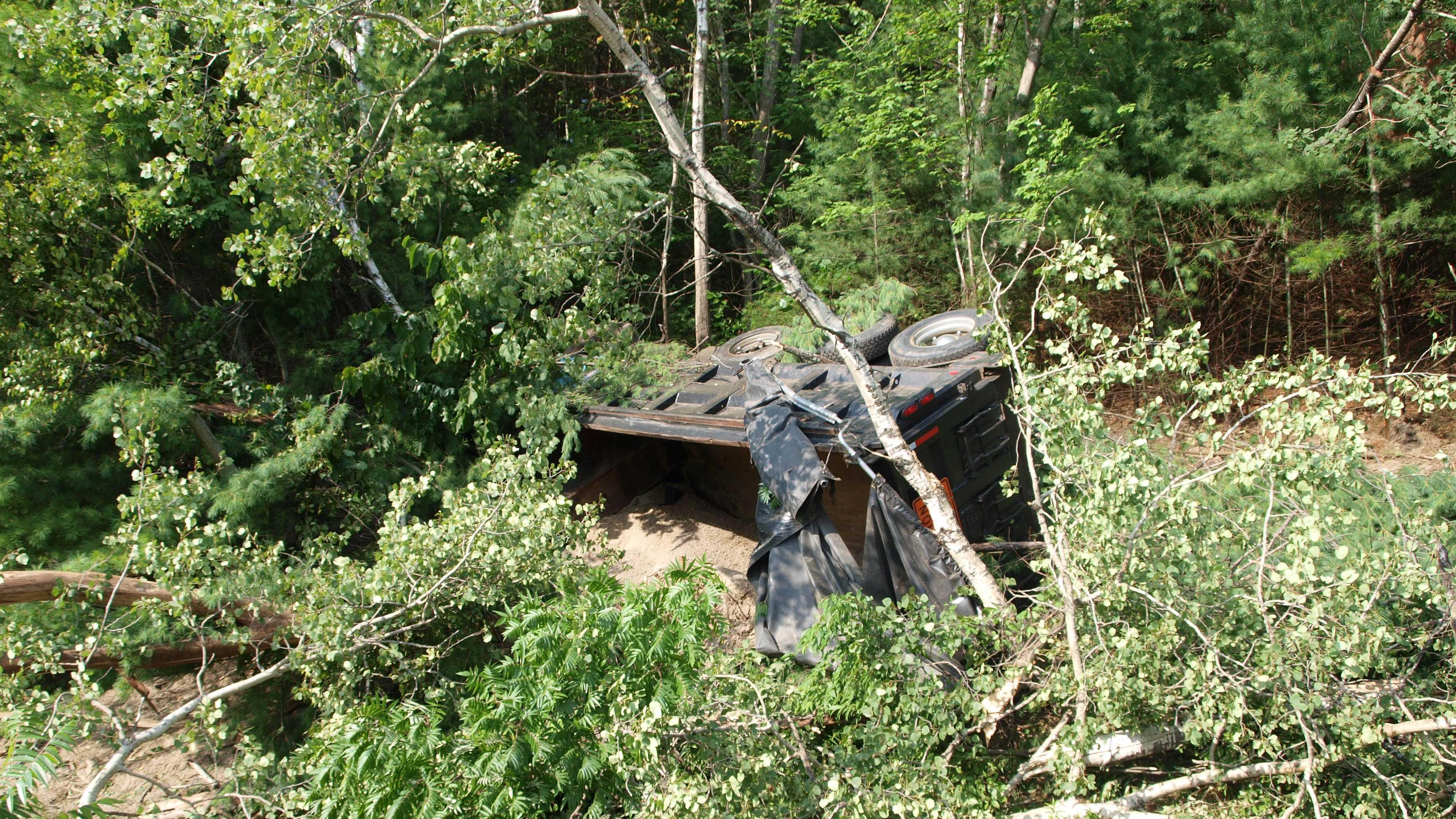 A dump truck crashed on Interstate 93 in Ashland