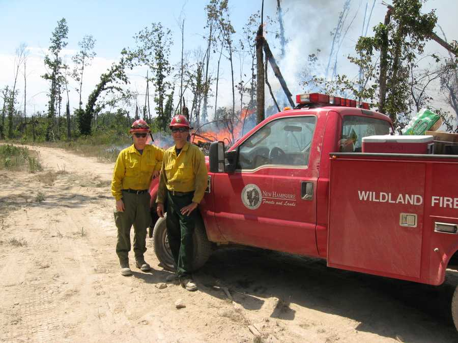 Two firefighters recently returned to the Granite State after helping to battle a raging wildfire in Missouri.