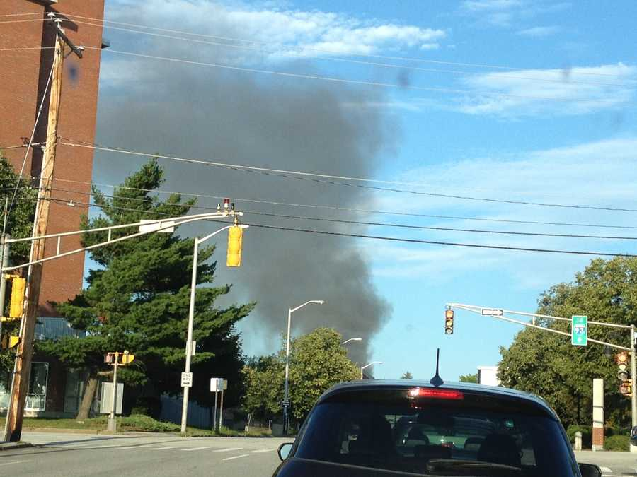 Heavy black smoke could be seen for miles.