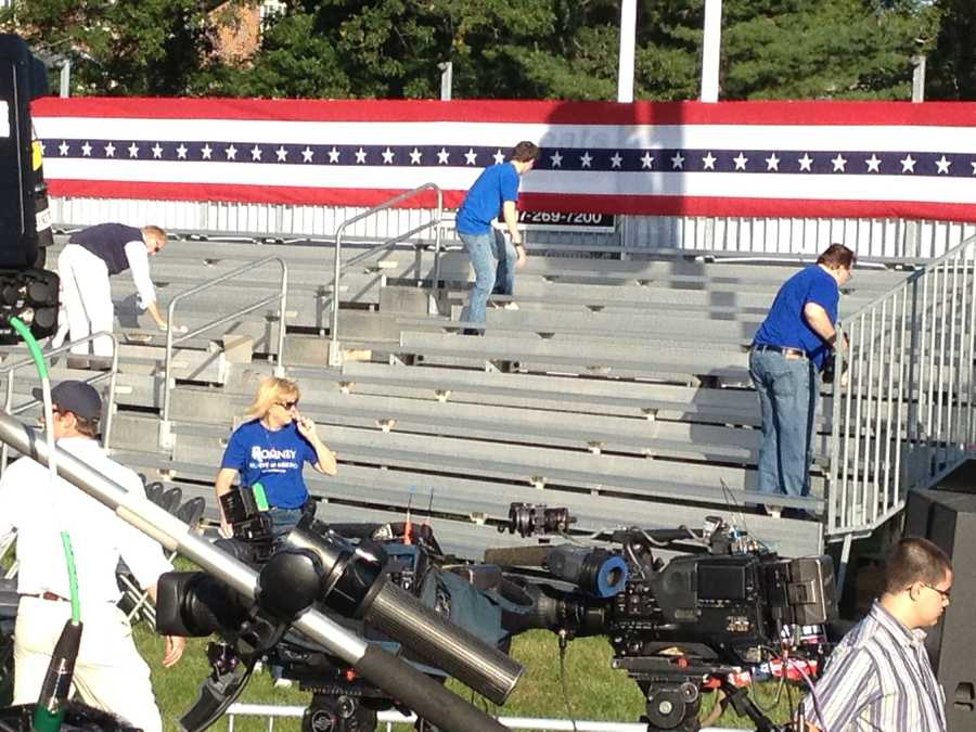 Crews begin to set up for Mitt Romney and Paul Ryan's event on Monday.