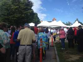Crowds began gathering early in the morning ahead of Romney and Ryan's appearance.