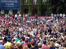 The crowds await the arrival of Mitt Romney and Paul Ryan.