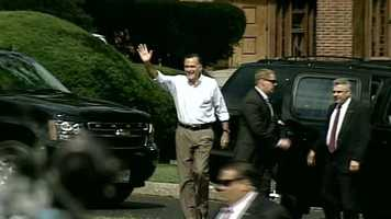 Romney greets the crowd upon arriving to the event at St. Anselm's College.