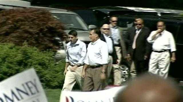Romney and Ryan arrived shortly after 10:30 a.m.