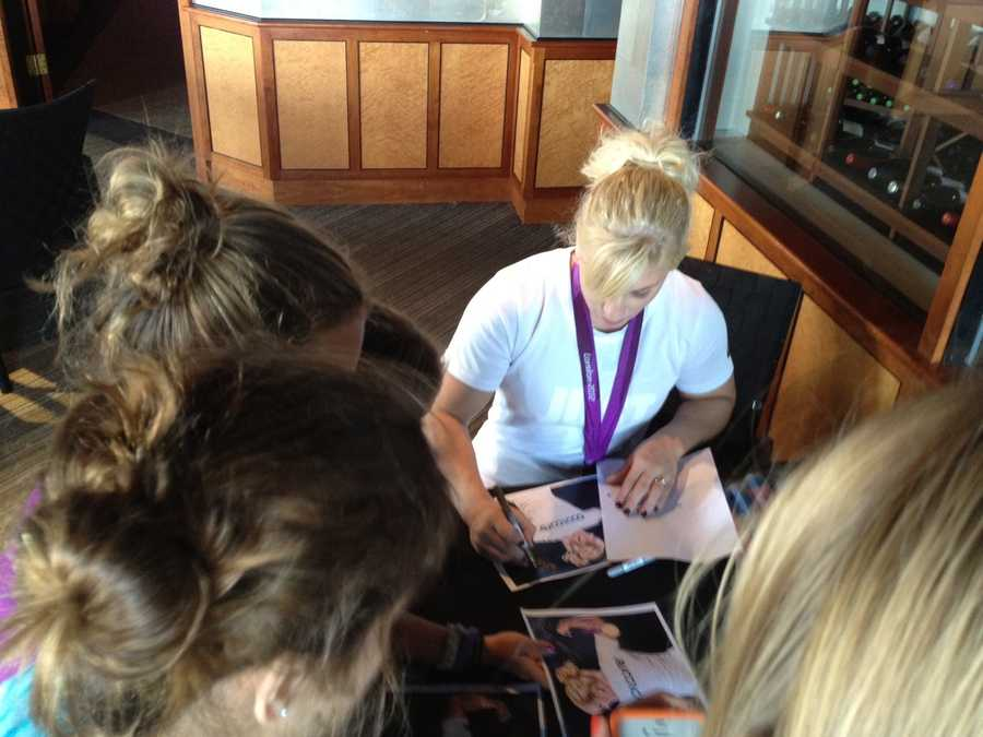 Kayla Harrison, the first American to win Olympic gold in judo, visited Portsmouth, N.H. on Monday.