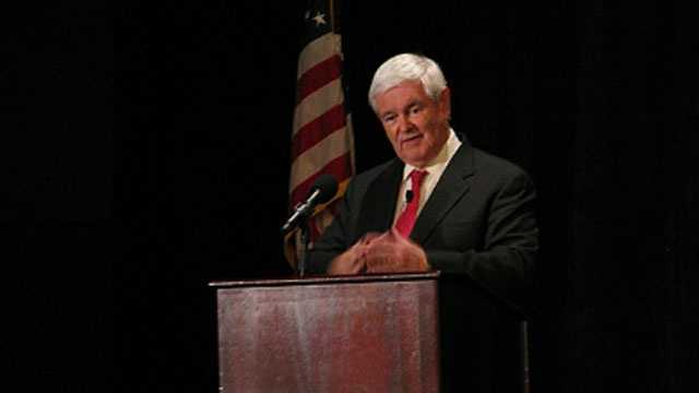 Newt Gingrich addresses a crowd at Newt University.