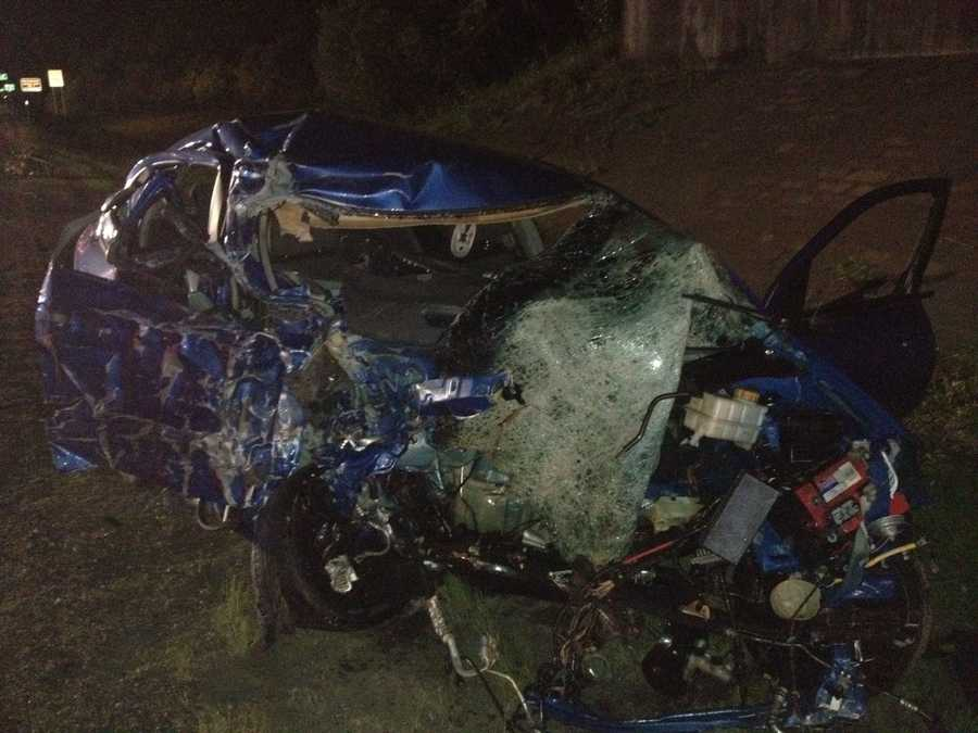 The driver of this car was killed after driving the wrong-way down I-95 on Monday.