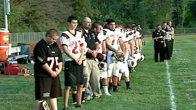 Football team remembers coach who was killed in accident.
