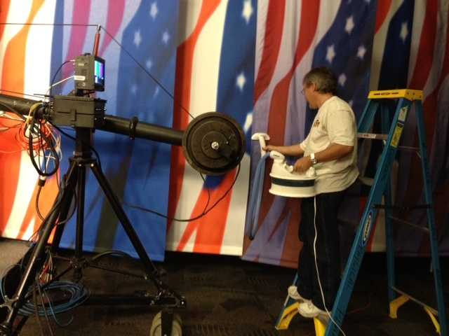 WMUR production department employees worked hard to build the debate set.