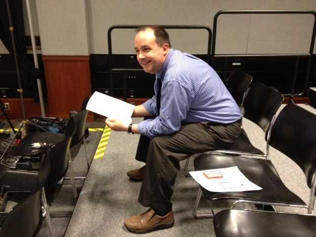 WMUR director Pete McKay prepares ahead of the debate.