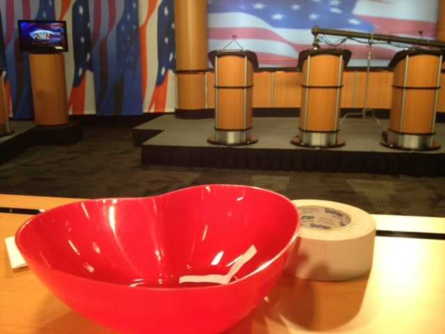 Did you know candidates' names were randomly drawn from this to determine podium position and order of first and last statements? A hat has been used in past. This time it was a heart-shaped bowl.