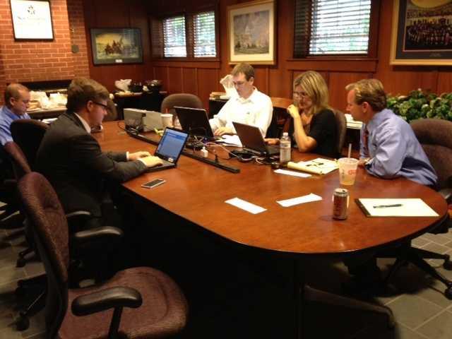 WMUR staff members prepare for the debate behind the scenes.