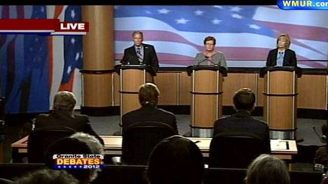 Democrats Bill Kennedy, Jackie Cilley and Maggie Hassan (left to right) participated in the debate.